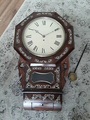 Antique Victorian Fusee Drop Dial Wall Clock Rosewood & Mother of Pearl Inlay