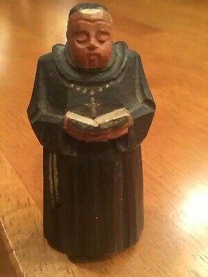 """Vintage Beautifully Hand Carved Monk with Bible Switzerland 2.5"""""""