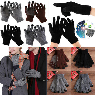 Stretch Non-slip Touch Screen Full Finger Mittens Warm Gloves Wool Knitted
