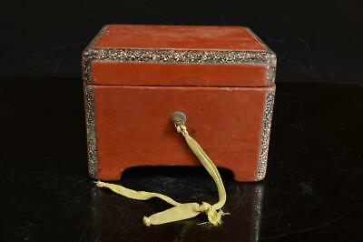 A4132: Japanese Wooden Lacquer ware CONTAINER Accessories Case Box Tea Ceremony