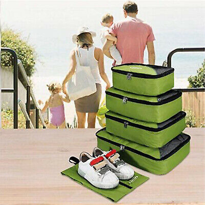 5Pcs Packing Cubes Mesh Pouches Luggage Organiser Clothes Suitcase Storage Bag