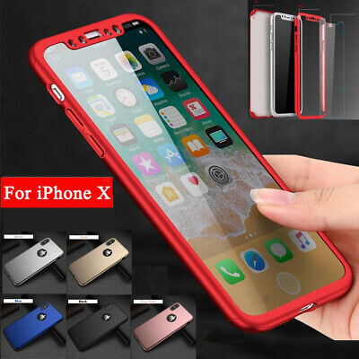 iPhone 8 7 6s Plus XS Max XR 360°Full Shockproof Hard Case Cover+Tempered Glass