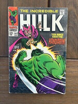 The Incredible Hulk 107 from 1968 Vintage Marvel Silver Age Mandarin