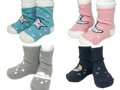2 Pairs Baby Boy Girl Anti-slip Ankle Socks Stars Moon Cloud Pink Blue Grey Odd