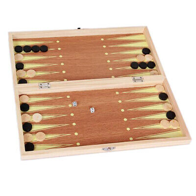 Folding Wooden Wood Chess Set Board Game Gift Checkers Backgammon 9.4''