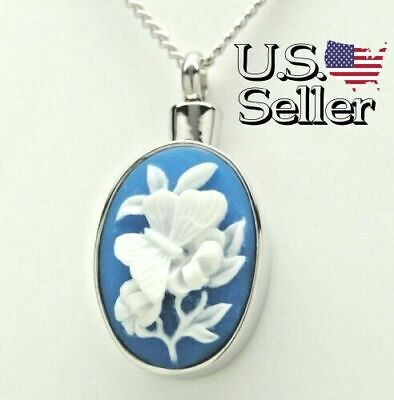 Blue Cameo White Butterfly Urn Necklace, Engraveable Cremation Keepsake Jewelry