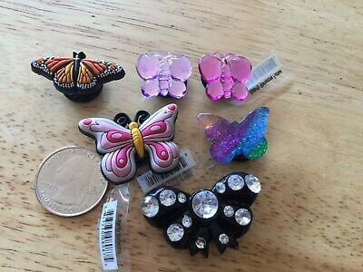 Butterfly Monarch Rhinestone Purple Authentic Jibbitz Shoe Charm Fit Crocs