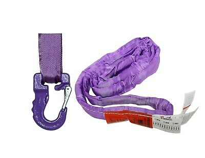 USA Domestic Endless Round Sling PURPLE w/ HOOK COMBO  Crane Wrecker Towing