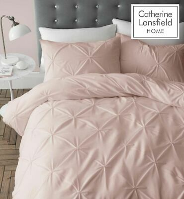 "Catherine Lansfield ""Pinch Pleat"" Pin Tuck Quilt/Duvet Cover Bedding Set Blush"
