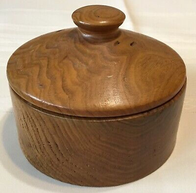 Vintage Round Hand Crafted Butternut Wood Box W/ Lid
