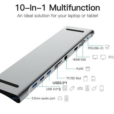 10 in 1 HUB USB Type-C to HDMI VGA HUB Audio Adapter Kits for Laptop Computer