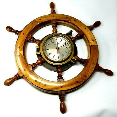 Ships Time Nautical Wall Clock Ship Wheel Port Hole Solid Brass Battery Run EUC
