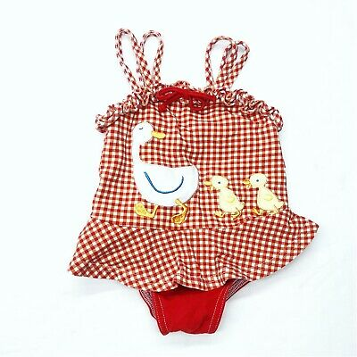 Vintage Le Top Red Polka Dot Duck Ruffle One Piece Bathing Suit Swimsuit Sz 6 Mo
