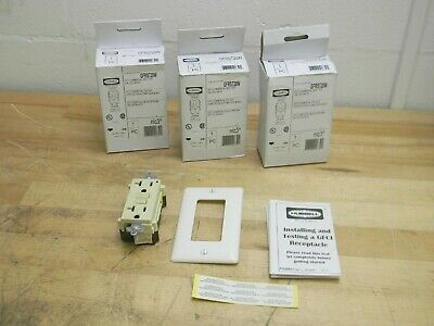 Lot of 3 Hubbell Wiring GFCI Commercial Self Test Receptacle 20A 125V GFRST20W