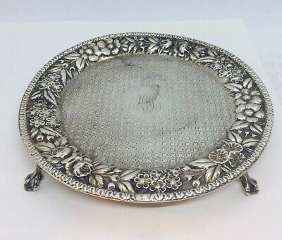 """S. Kirk & Son Antique Sterling Silver Floral Repousse Claw Footed Salver Dish 7"""""""