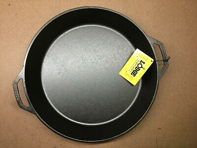 "Lodge 17"" Cast Iron Skillet Pan Pre-seasoned Loop handles Made in USA L17SK3"