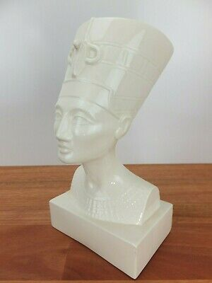 Vintage White Ceramic Ancient Egyptian QUEEN NEFERTITI Bust Statue