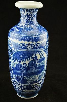 Chinese antique Painting/Blue and white porcelain Qianlong vase