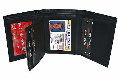 Black Genuine Leather Mens Trifold Wallet 6 Credit Card Window ID Holder Case