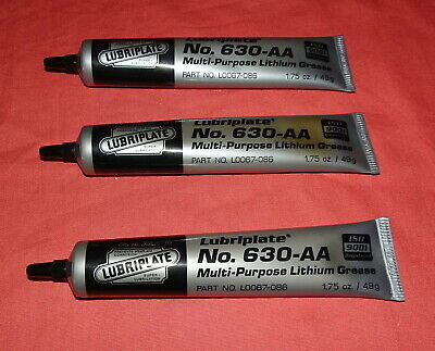 LOT OF 3 TUBES LUBRIPLATE No. 630-AA L0067-086 MULTIPURPOSE LITHIUM GREASE 1.75
