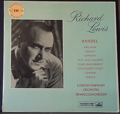 Hmv Asd 291 Ed 1 Uk Handel Airs Sung By Richard Lewis, Sargent, Lso Great Cond.