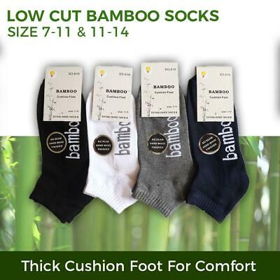 Bamboo Socks Ankle Low Cut Soft Cushion Work Sport Men s7-14 Black Navy White