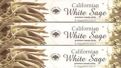 """Californian White Sage"" 3 Packets Green Tree Incense Sticks Masala Blend 3x15g"