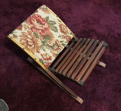 French Vintage Wood And Tapestry Rocking Gout Stool
