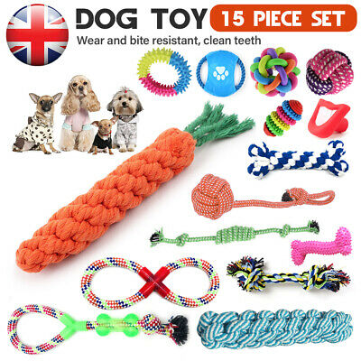15Pc Dog Puppy Toy Rope Xmas Christmas Bundle Teeth Cleaning Cotton Rope Toys