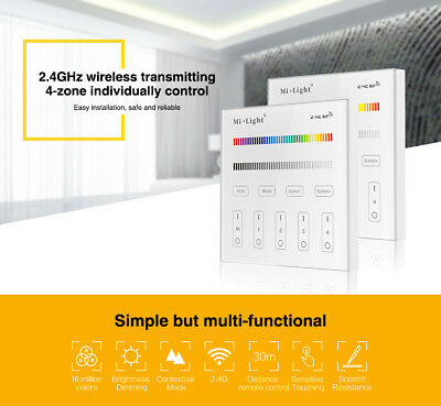 MiLight Touch Panel T3 Smart Wall Remote Control Mains Switch RGBW bulb LED UK