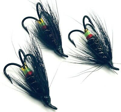 3,4 or 6 Salmon Fishing flies ALLY/'S RED Choose single double or treble hook