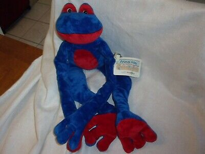 """Animal Alley SOFT  FROG WITH LONG LEGS  Plush STUFFED ANIMAL blue red hang 20"""""""