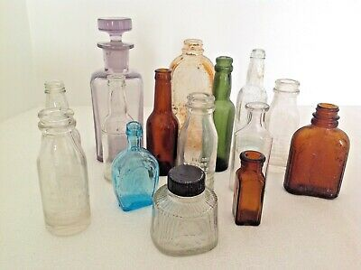 Vintage Apothecary/Pharmacy Glass Bottles~Lot of 15; Edison, W Trademark, Parker