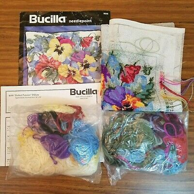 Bucilla Perfect Pansies Needlepoint Pillow Kit 4699