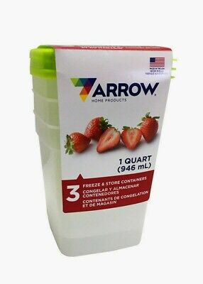 3 Pack Arrow 1 Quart Food CONTAINER & LID Freezer Fridge Pantry Storage 04405