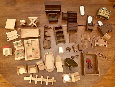 42PC Lot Antique Piano Doll House Furniture MCM Victorian Arts & Crafts Wood