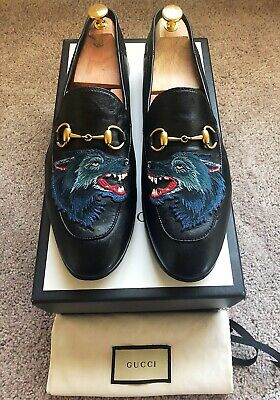 Genuine Gucci Angry Wolf Black Leather Mens Loafer US10 EU43.5 UK9.5 RRP $830