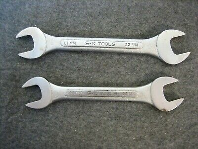 2 - Vintage S-K Metric Open End Wrenches  20mm x 22mm & 21mm x 23mm USA