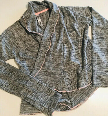 90 Degree By Reflex Girls Open Front Gray Sweat Shirt Sweater Size 10