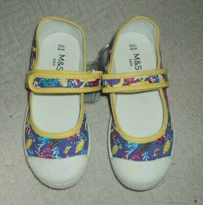 M&S Kids Children Girls Purple/Yellow  Floral Canvas Shoes/ Trainer 10 UK New