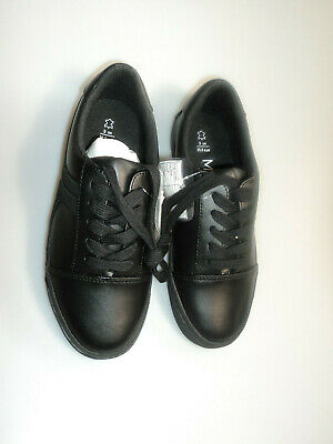 M&S Kids Children Girls /Boys Black Leather Lace Up Shoes 2/3 UK New £12