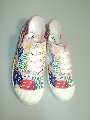 M&S Kids Children Girls Pink Floral Canvas Lace Up Shoes/ Trainer 2/3 UK New