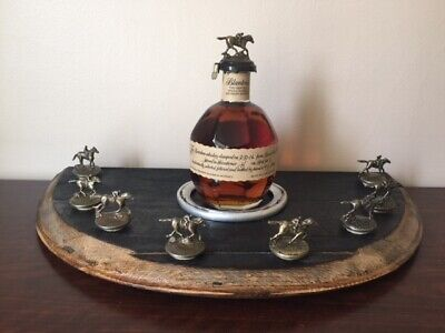 Blantons Display Wood Barrel Head with horseshoe from Churchill Downs. White Oak