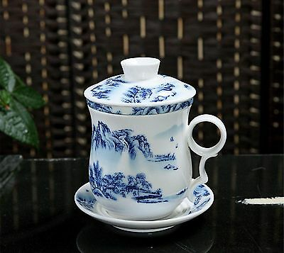 Chinese tea cup ceramic drinking lids mountain tea cups and saucers tea sets mug