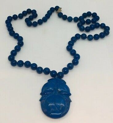 Antique Chinese Blue Lapis Lazuli Beaded Silver Clasp Carved Pendant Necklace