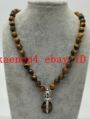 Long 18Inch Natural 8mm Yellow Tiger/'s-Eye Gemstone Round Beads Pendant Necklace