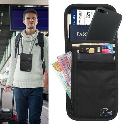 Passport Card Holder RFID Blocking Security Travel Wallet Bag Neck Stash Pouch