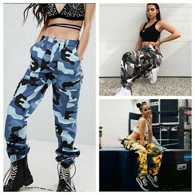 US Women Camo Cargo Casual Pants Military Army Camouflage Hip Hop Loose Trousers