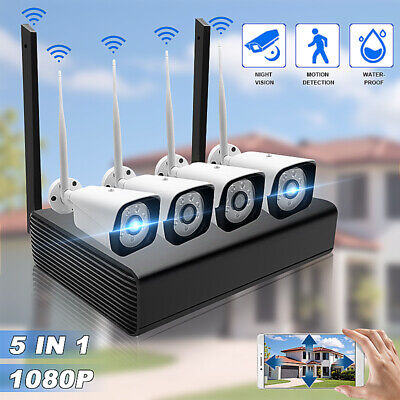 4CH Wireless 1080P NVR Outdoor IR WIFI IP Camera CCTV Security Alarm System