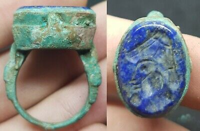 Medieval Bronze Intaglio Lapis Lazuli Ring Depicting Noble Man - 800/1200 Ad